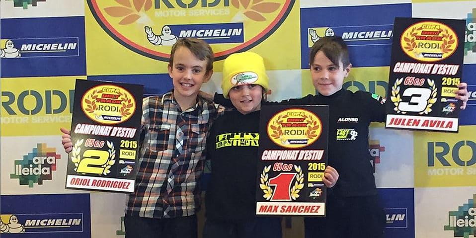 Guanyadors categoria 65cc Copa Rodi Dirt Track 2015